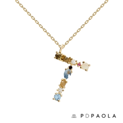 PD PAOLA 西班牙輕奢時尚品牌 字母T 彩鑽寶石項鍊