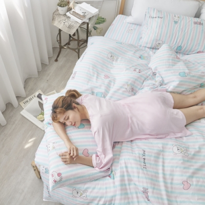 BUHO 天然嚴選純棉雙人四件式床包被套組(花糖朵朵)