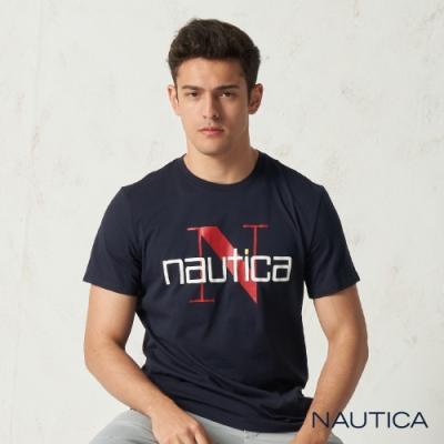 Nautica 精緻簡約LOGO圖騰短袖T恤-深藍