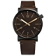 FOSSIL Barstow 地平線 斜紋設計 日期 真皮手錶-深褐x黑框/42mm product thumbnail 1
