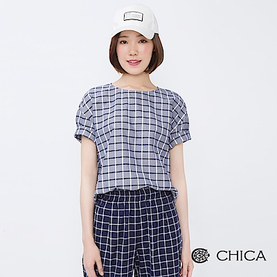 CHICA 懷舊英倫配色格紋設計上衣(2色)