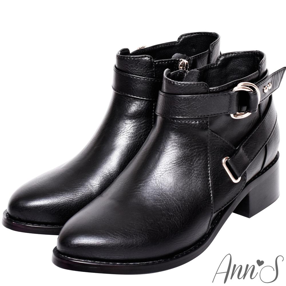 Ann'S秋季秘密-銀扣雙帶超短筒機車靴-黑