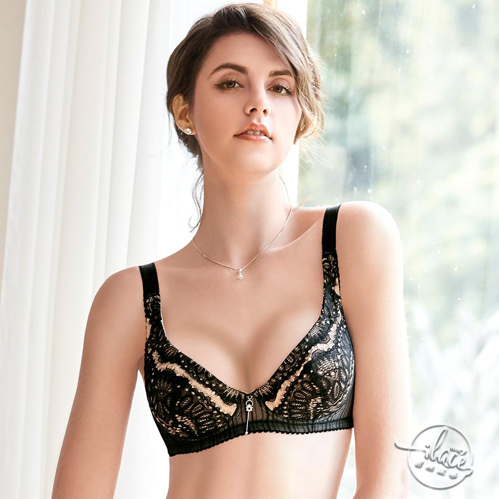 LADY 戀戀巴洛克系列 刺繡無襯深杯全罩內衣 E-G罩(華麗黑)