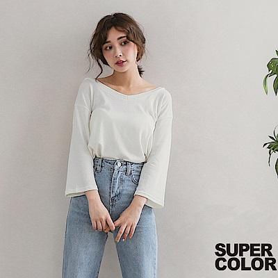 SUPER COLOR甜美可人V領後綁帶上衣-知性白色