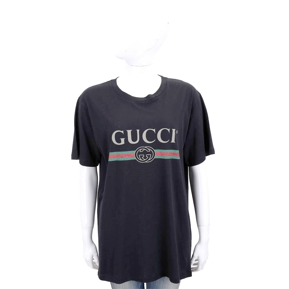 GUCCI 領邊小破損造型設計黑色經典LogoT恤