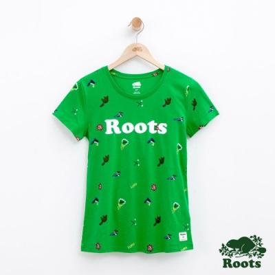 女裝Roots 露營滿版印花短袖T恤-綠