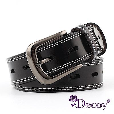 Decoy 手工縫線 高品質中性真牛皮皮帶 2色可選