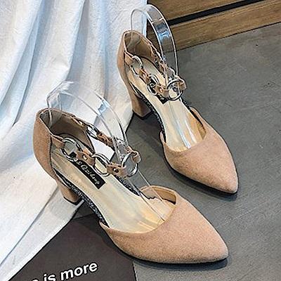 KEITH-WILL時尚鞋館 時尚元素俏皮粗跟鞋-杏色
