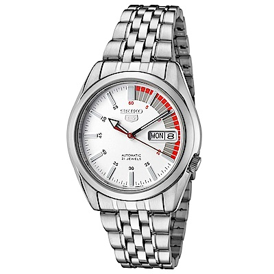 SEIKO精工  極速先鋒夜光 5 號自動上鍊機械腕錶(SNK 369 K 1 )-白/ 37 mm