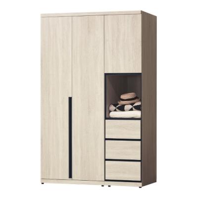 Boden-維森4.2尺三門三抽衣櫃組合(單吊桿)-125x57x202