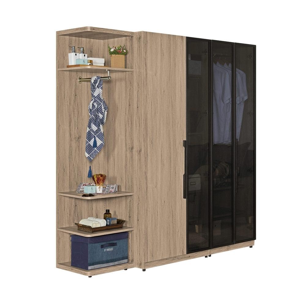 文創集 法納德6.1尺黑玻衣櫃/收納櫃(吊衣桿+開放多層格)-181.5x46x197免組