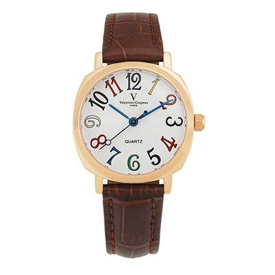 Valentino Coupeau 范倫鐵諾 古柏 萊茵香頌腕錶 玫瑰金色 咖啡皮帶