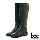 【bac】中性時尚 - 簡約率圓頭直筒長靴-黑