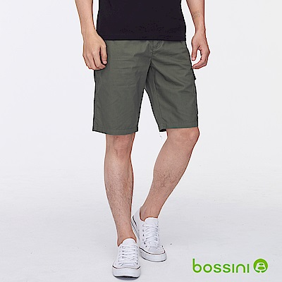 bossini男裝-素色側邊口袋休閒短褲灰