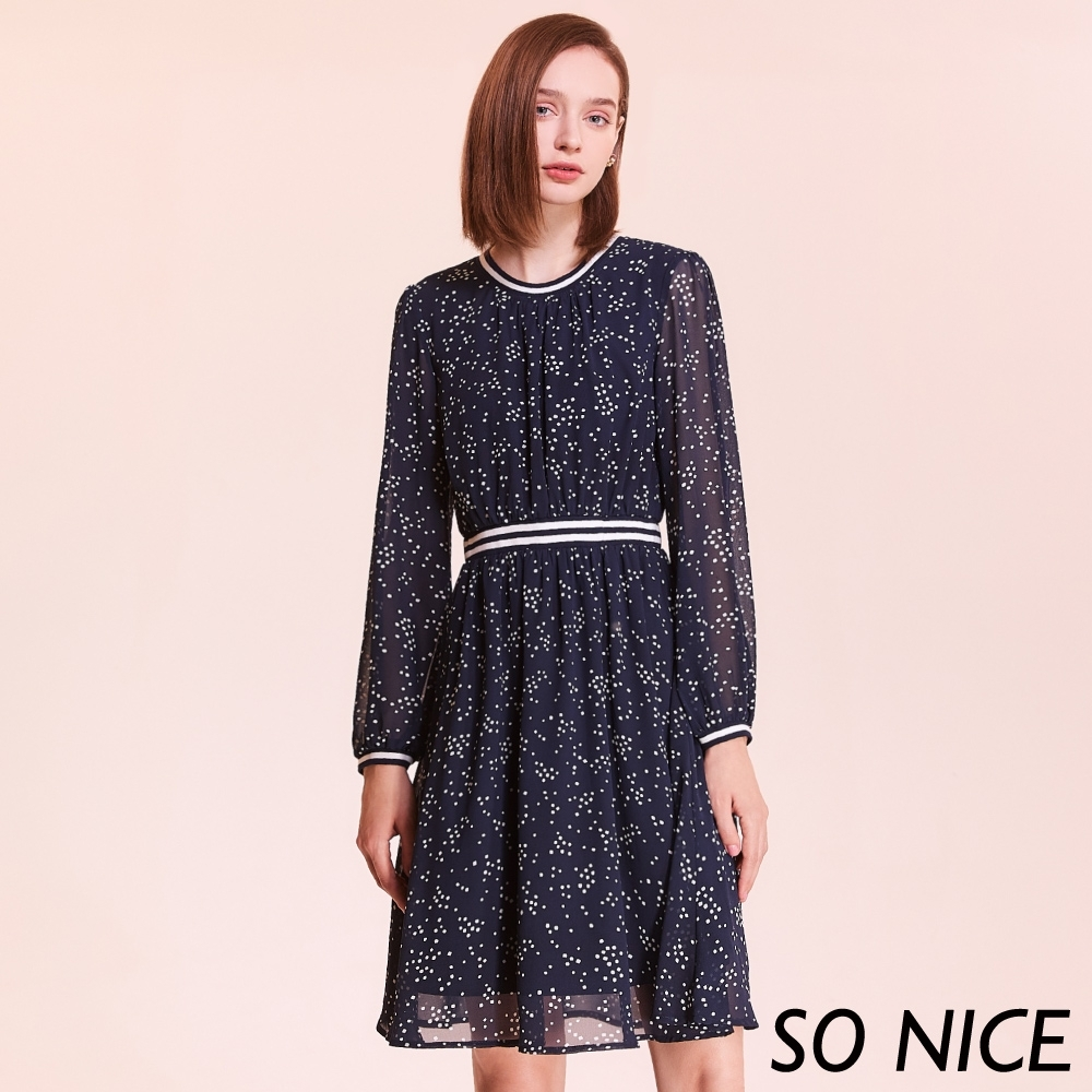SO NICE唯美飄逸點點雪紡洋裝