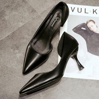 KEITH-WILL時尚鞋館 機能素面百搭尖頭跟鞋-黑