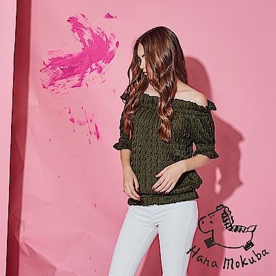 Hana+花木馬 時尚微性感平口露肩鬆緊造型五分袖粗針織上衣-綠(共2色)
