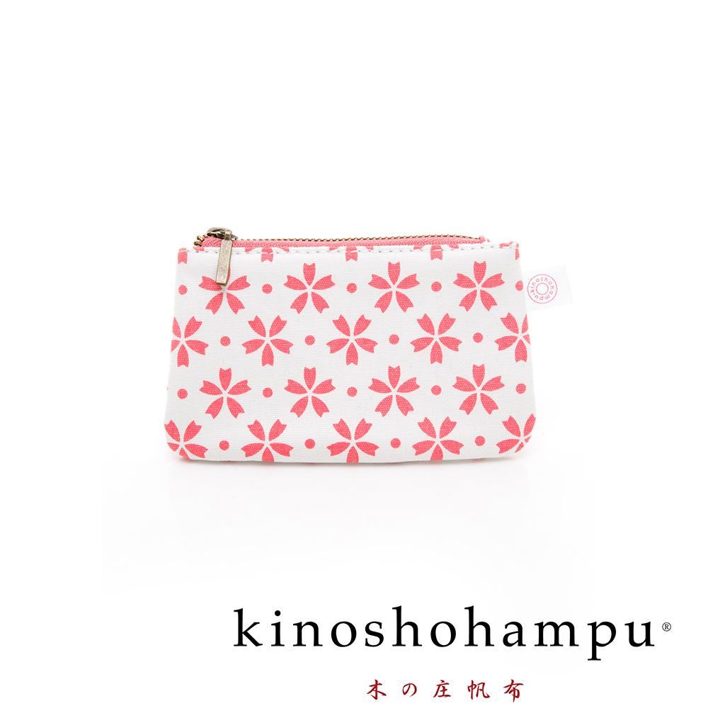 kinoshohampu貴族和柄帆布鑰匙包 櫻花粉