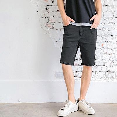 素色彈力牛仔短褲-OB大尺碼