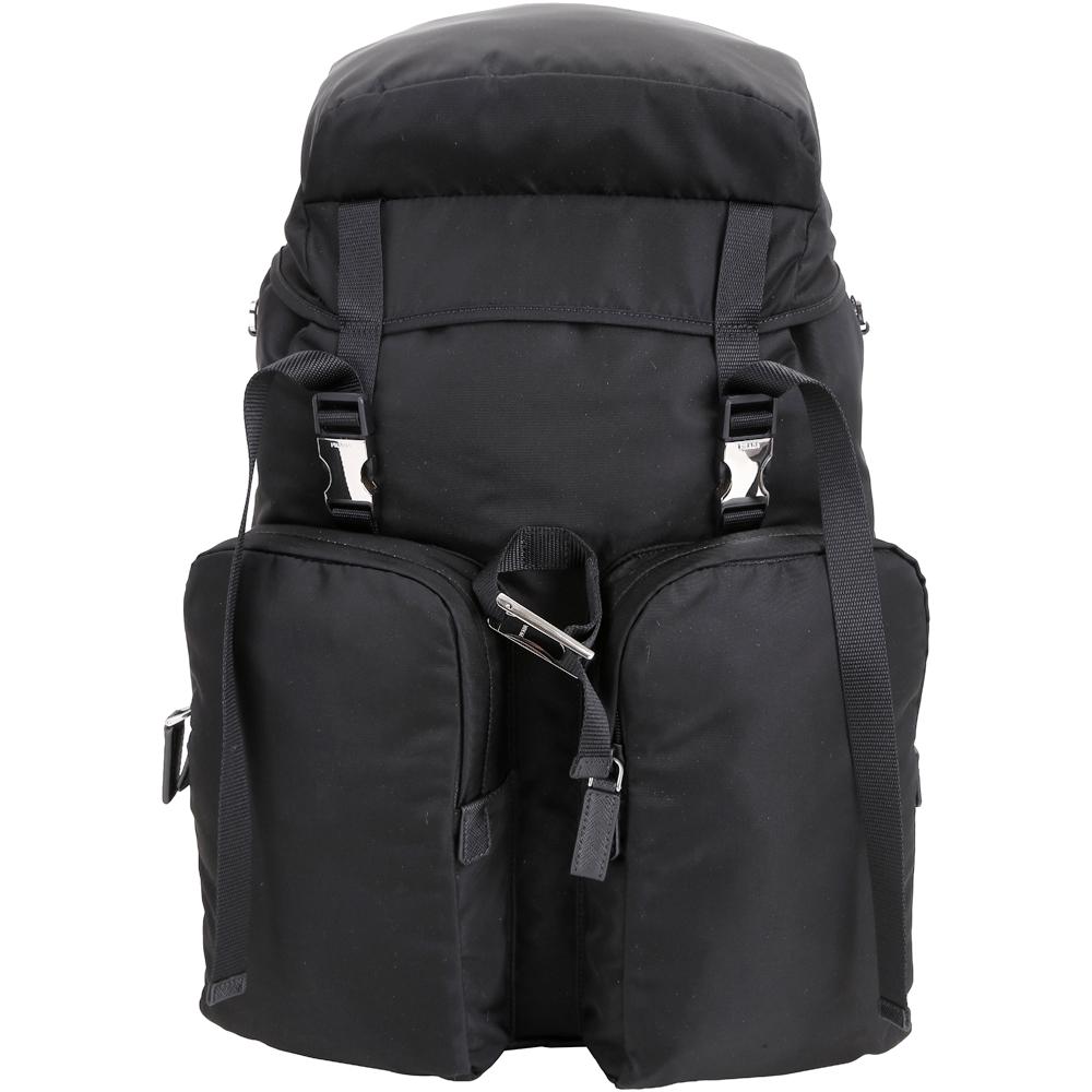PRADA 雙釦設計機能尼龍後背包(黑色)PRADA