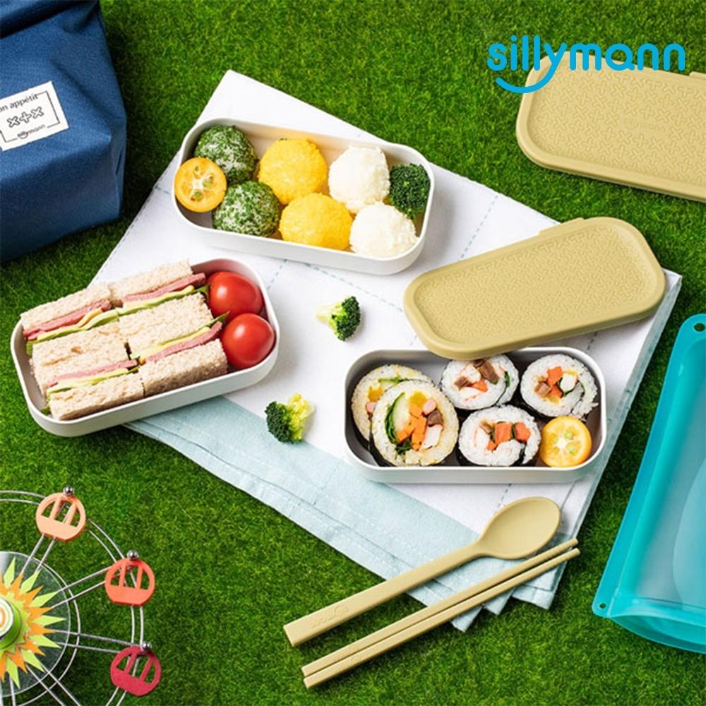 【韓國sillymann】 100%鉑金矽膠餐盒三件組+兒童餐具套裝組(附防塵盒)-粉/綠