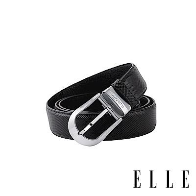 ELLE HOMME 簡約圓頭紳士針釦式真皮皮帶-槍色拉絲EL307006