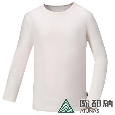 【ATUNAS 歐都納】男熱流感圓領保暖貼身長袖內著衣/發熱衣A1UCAA01M米白