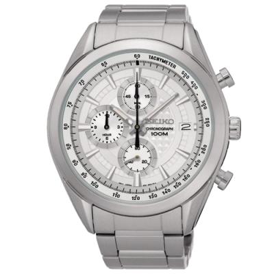 SEIKO精工   低調紋飾三眼石英腕錶(SSB173P1)-白面x45mm