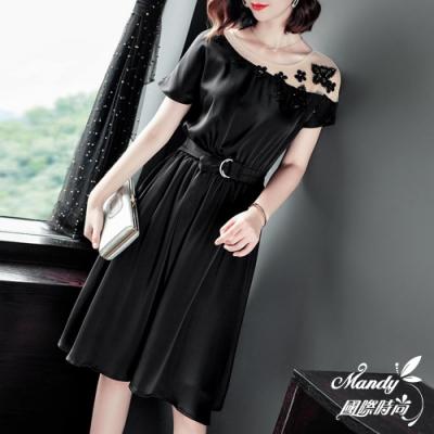 Mandy國際時尚 短袖洋裝 時尚拼接網紗釘珠連身洋裝_預購【韓國服飾】