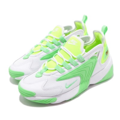 Nike 休閒鞋 Zoom 2K 運動 女鞋 海外限定 氣墊 避震 襪套 舒適 球鞋 白 綠 CU2988131