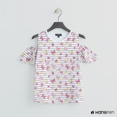 Hang Ten -童裝 - 甜美蝴蝶荷葉袖露肩上衣 - 粉