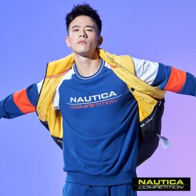 Nautica COMPETITION撞色拼接長袖大學T恤-藍色