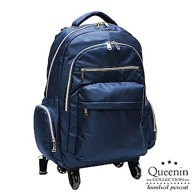 DF Queenin流行 - 大寬口可拆式360度滾輪休閒拉桿後背包(大)-藍色
