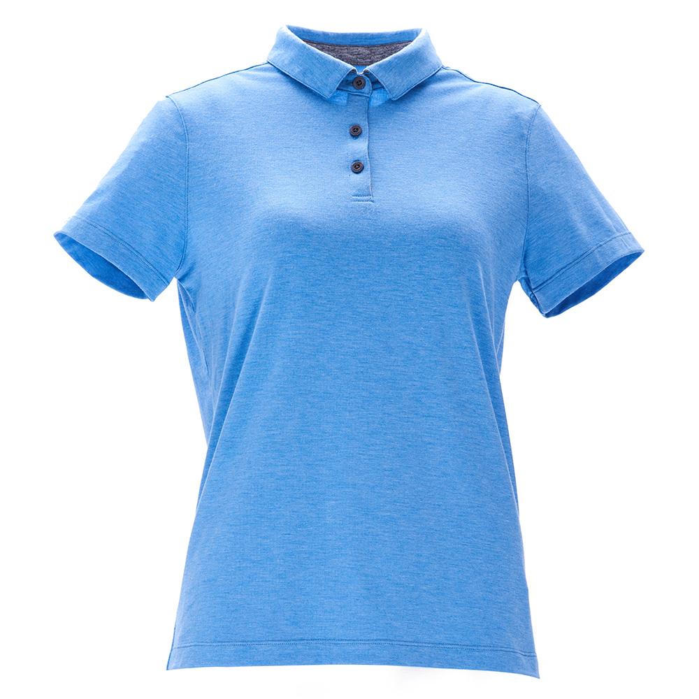 荒野【wildland】女彈性本布領POLO上衣水藍色