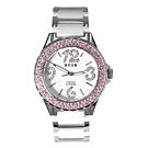HYUN 白色陶瓷藍寶石鏡面粉色鑽石錶