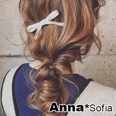 AnnaSofia 金屬緞帶蝶結 純手工髮夾邊夾(銀系)