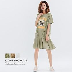 【KOMI】 小老虎印圖棉荷葉洋裝-三色