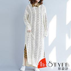 文藝圓領縷空長款針織衫洋裝 (共二色)-4inSTYLE形設計