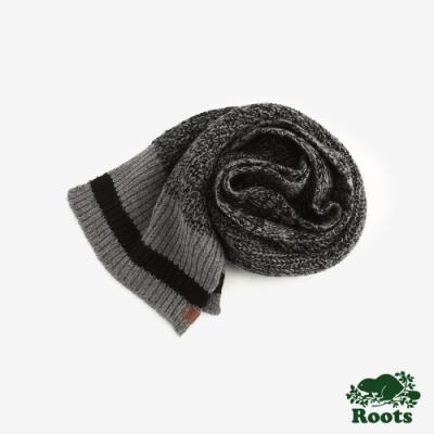 ROOTS配件- 溫馨佳節羊毛長條圍巾 -黑