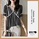 UGIZ-修身時尚簡約清新格紋滾邊荷葉袖造型上衣-小方格(M-XL) product thumbnail 1