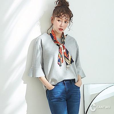 CANTWO韓系附領巾荷葉袖上衣-共兩色