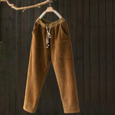 厚實軟糯素色棉質燈芯絨加絨寬鬆長褲-設計所在