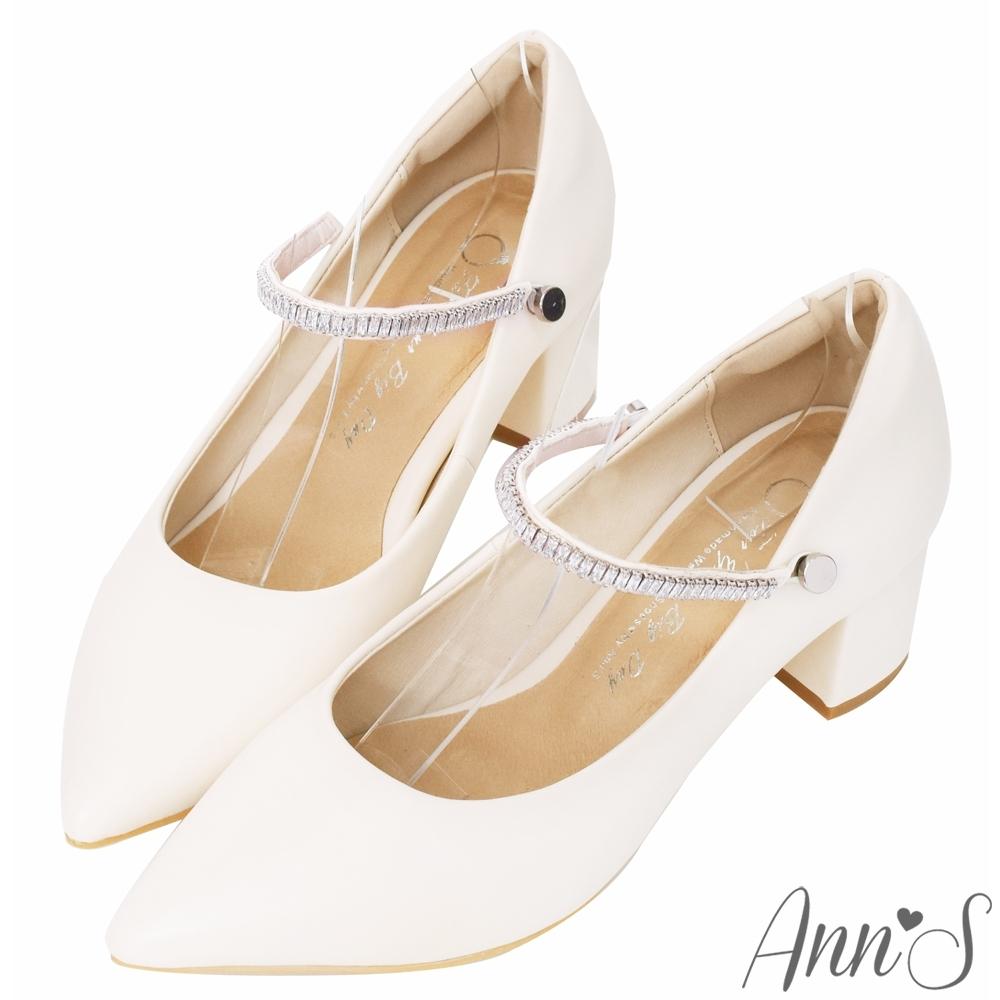 Ann'S百變公主鞋-可拆鑽石繫帶瑪莉珍粗跟尖頭鞋 -白