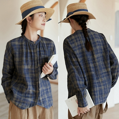 色織格子亞麻襯衫文藝復古寬鬆短版上衣-設計所在