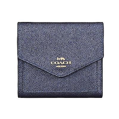 COACH專櫃款經典金字馬車LOGO金屬色牛皮7卡扣式短夾(夜空藍)