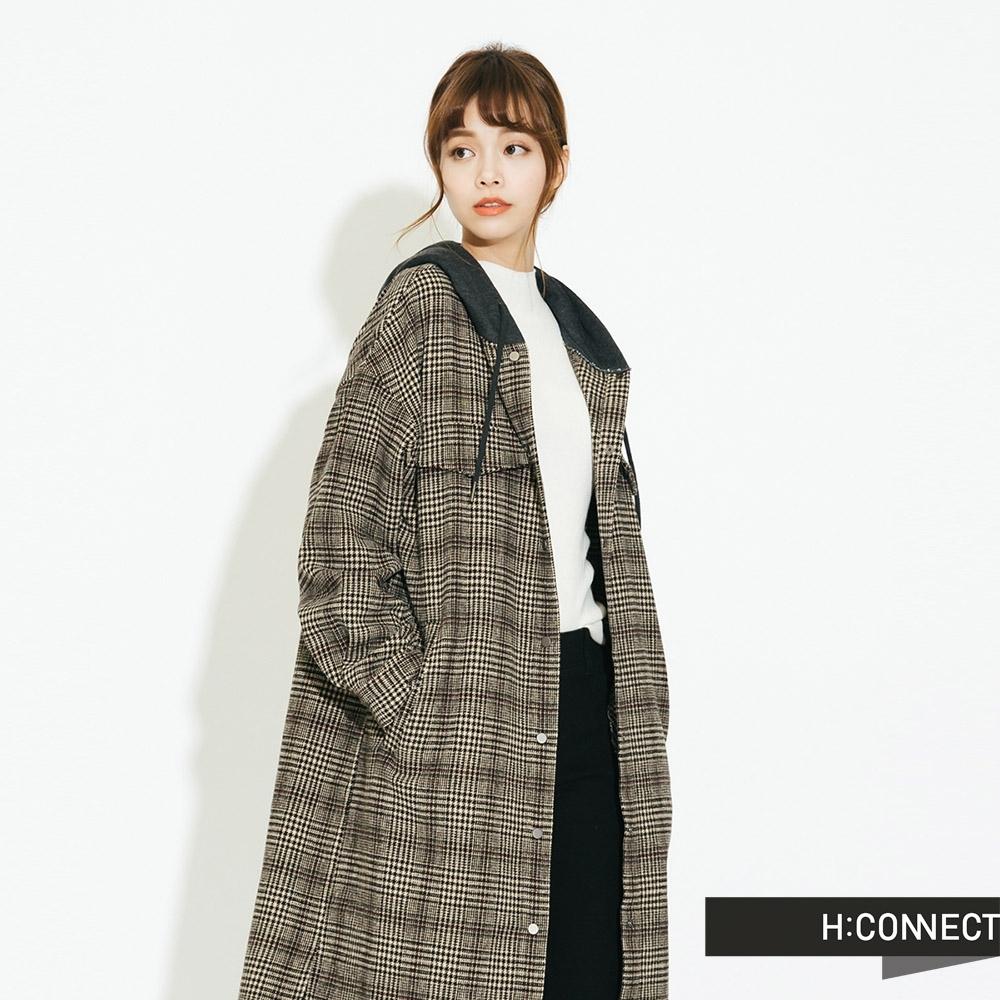 H:CONNECT 韓國品牌 女裝 - 千鳥格連帽長版外套 - 棕