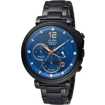 ALBA 雅柏 終極追殺計時腕錶(AT3E21X1)藍/43mm