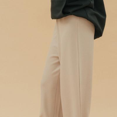 H:CONNECT 韓國品牌 女裝-質感素面鬆緊寬褲-卡其