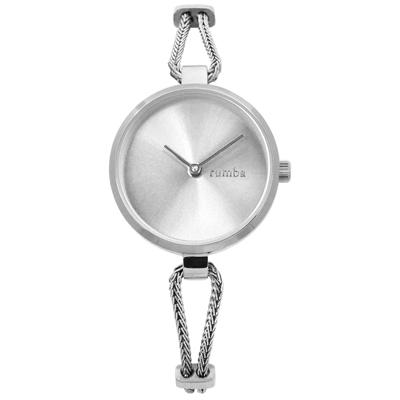 rumba time 紐約品牌 細緻鋼鍊 極簡設計 不鏽鋼手錶-銀色/26mm