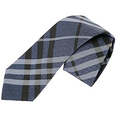 BURBERRY Vintage 現代剪裁格紋絲質領帶(深藍色)